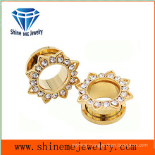 Flower Shape Gold Zircon Piercing Tunnel Ear Plug