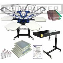 TM-R6 2.14 * 2.14 * 1,15 M billige manuelle Rotary 6-Farb-T-Shirt Siebdruckmaschine mit Flash-Trockner