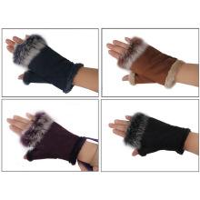 Lady Fashion Wildleder Kaninchenfell Fingerlose Kleid Handschuhe (YKY5208)