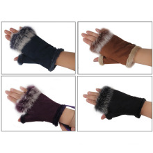 Lady Fashion Suede Leather Rabbit Fur Fingerless Dress Gloves (YKY5208)