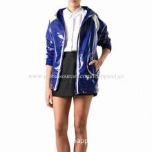 Blue and White Cotton Hooded Rain Coat Ladies' Raincoat, Long Sleeves