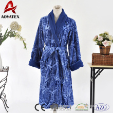 100% polyester coral fleece printed contrast color bathrobe