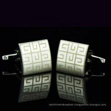 Custom Luxury Nickel sliver Plated  Laser Stainless Steel Cufflinks