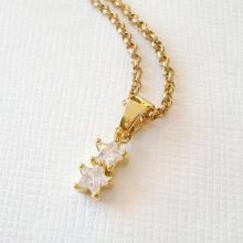 Двойной кубический цирконий звезда кулон ожерелье
