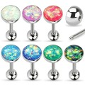Synthetic Opal Sparkle Set Tongue Ring