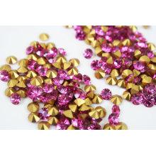 Diamante de piedra de acrílico de la parte posterior aguda, color de rosa