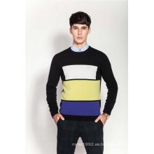 Rib Knit cuello redondo hombres Intarsia 100% suéter de cachemira