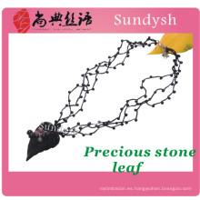 cuentas al por mayor de punto de moda multi hecho a mano de color largo grueso trenzado de cristal de cáñamo personalizados collares de cuerda de tela negro