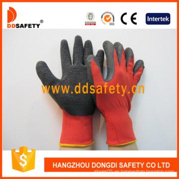 Nylon / Poliester Liner Latex Crinkle / Latex Foam Glove-Dnl111