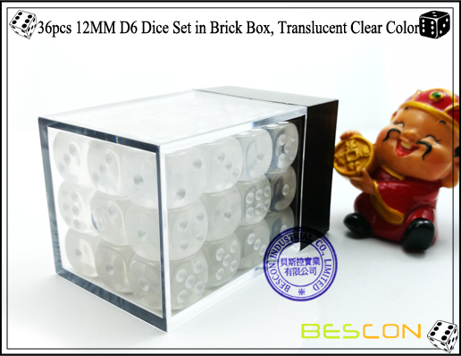 36pcs 12MM D6 Dice Set in Brick Box, Translucent Clear Color-3
