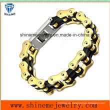 Pulsera de acero inoxidable cadena de caracteres hombre doble capa de joyería de cadena (bl2819)