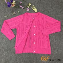 लड़की के लिए नियमित रूप से Pointelle पैटर्न कार्डिगन स्वेटर
