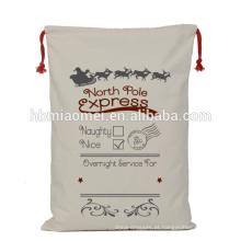 2017 nova china barato atacado tecido de linho com cordão decoração saco de natal