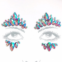 Custom Cheap Self Adhesive Rhinestone Crystal Face Sticker