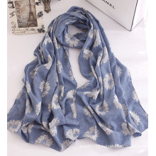 Women Fashion Flower Printed Cotton Spring Scarf (YKY1137)