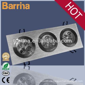 Ahorro de energía y alta intensidad luminosa rectangular de 3 * 15 vatios led spotlight de rejilla