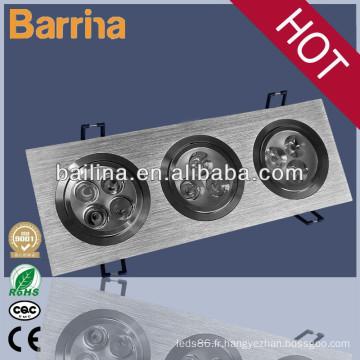 Économie d'énergie et de haute intensité lumineuse 3 * 15 watts rectangulaire conduits grille spotlight