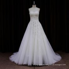 Nuevo Arriveal Sheer Lace Cathedral vestido de novia 2013