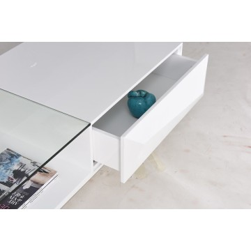 Modern white coffee table with metal leg