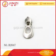 Hauteur de glissière et tireur de fermeture à glissière métal qualtiy pour sacs / vêtements / jeans