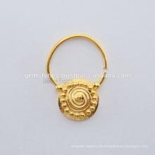 Handgemachtes Gold überzogene 925 Sterlingsilber-Nasen-Ring-Schmucksachen, IndianTribal Septum-Nasen-Ring-Schmucksachen
