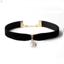 Mais recente projeto de veludo preto colar de pérolas, preto de veludo pérola pingente de ouro colar gargantilha