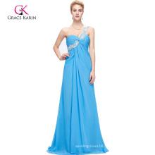Grace Karin One Shoulder Sky Blue High Slit Long Evening Dress CL3186-4