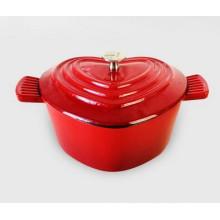 Emaillierte Gusseisen Herzkasserolle, Rot