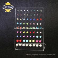 Jinbao Clear acrylique boucle d'oreille affichage standsmall plexiglass bijoux affichage riser