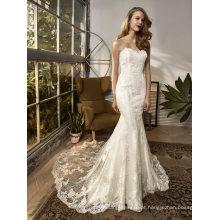 Vestido de casamento nupcial do vestido de noite da sereia do Applique do laço sem alças