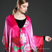 Mei Red Digital Printing Scarf Shawl with Buttons