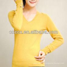 13STC1022 Suéteres de cashmere com decote em V