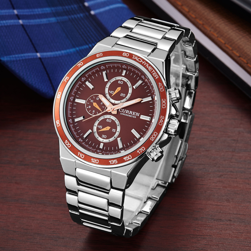 curren stainless steel strap business watch trend design