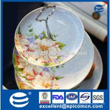Carrinho de 3 grades bolo, porcelana 3 bolo em camadas / prato de frutas para placa de casamento conjunto