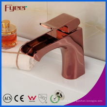 Fyeer Modern Ceramic Core Valve Rose Gold Waterfall lavabo grifo