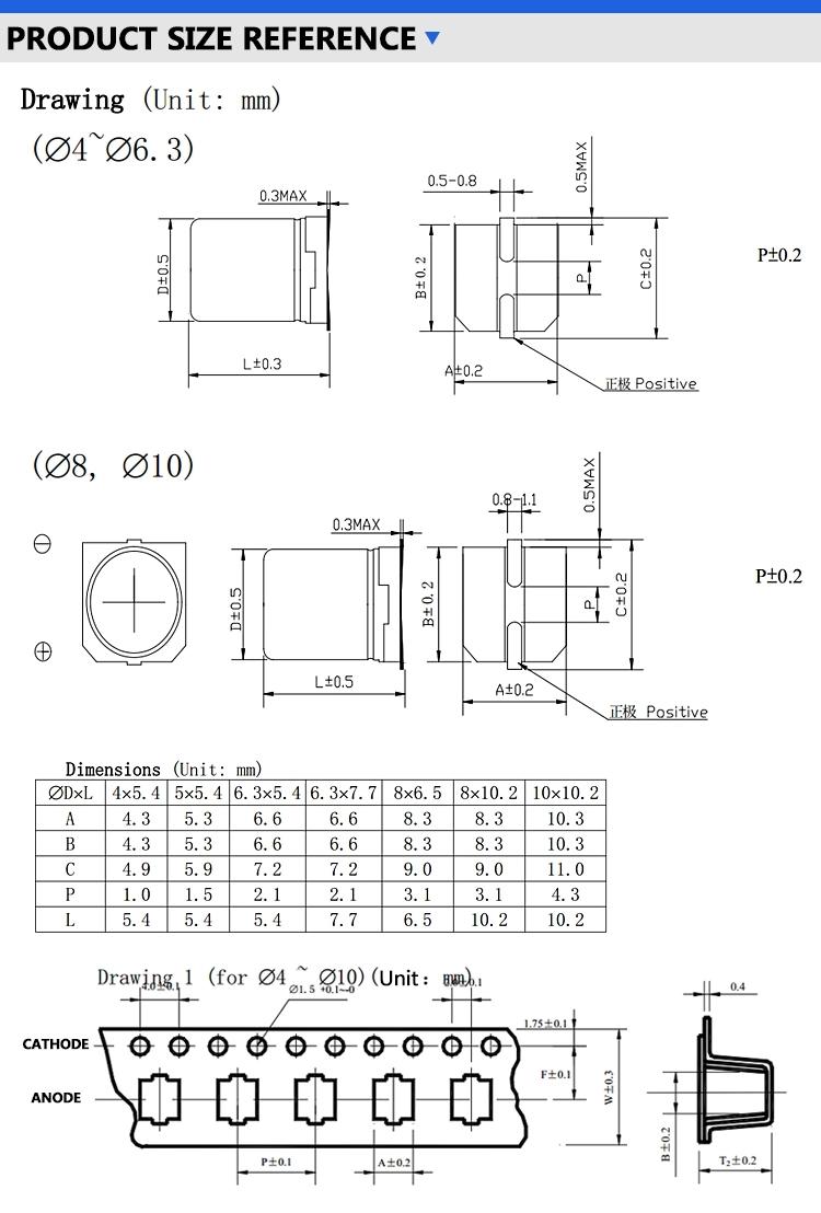 SMD Aluminum electronic capacitor 47UF 10V 4*5.4