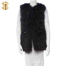 2016 Newest Custom Real Raccoon Women Fur Vest With A Leather Belt