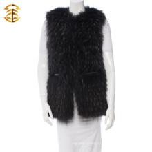 2016 Новый пользовательский реальный жилет из енота для женщин с кожаным поясом