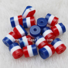 Wholesale Price for Resin Beads Chunky Red White Blue Zebra Oval Resin Beads in Bulk export to Panama Supplier
