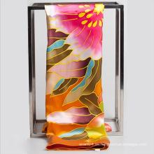 Floral mano pintura cuadrada tudung seda