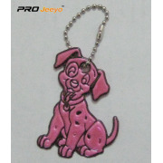Reflective PVC Pink Dog Key Chain For Bag