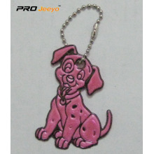 Reflective PVC Pink Dog Key Chain For Bag