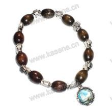 Ellipse Madeira Beads Woth Liga Pulseira Elástica Cruz