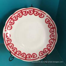 Placa de cerámica de porcelana, placa de cerámica china, plato de sopa
