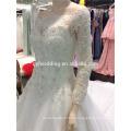 Alibaba Online Hot Sale Applique Scoop Decote Organza Vestido de casamento branco 2015, Bridal GownA101