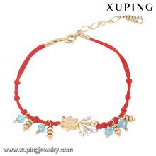 74500 Fashion Elegent mignon rouge corde-Maded Multicolor imitation bijoux Bracelet plaqué avec un poisson