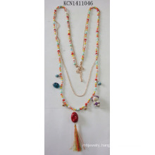 Colourful Multilayer Beads Necklace with Metal Fashion Jewelry