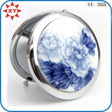 Made in China Blue and White Porcelain Metal Pocket Mirror