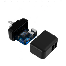 Two port quick charger black color