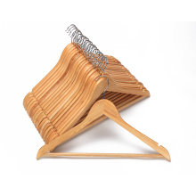 Smooth Finish Solid Wood  notch Coat Hanger with Non Slip Pants Bar